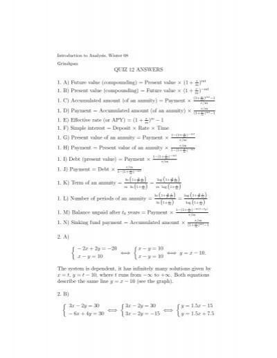 QUIZ 12 ANSWERS 1  A) Future value (compounding) = Present
