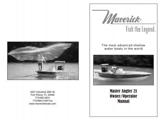 [SCHEMATICS_43NM]  Maverick Master Angler 21 Owners Manual - Maverick Boat Company | Operator Wiring Diagram For Master |  | Yumpu