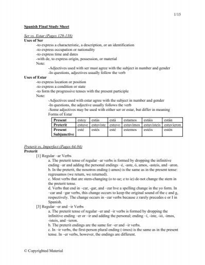 1/15 © Copyrighted Material Spanish Final Study Sheet Ser vs. Estar ...