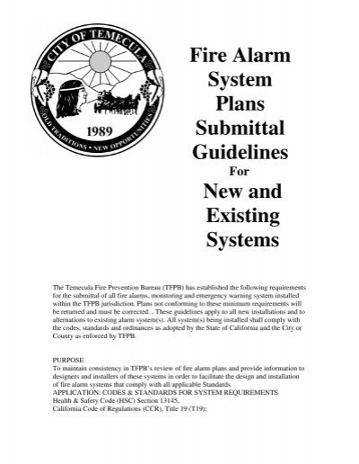 Fire Alarm System Plans Submittal Guidelines City Of Temecula