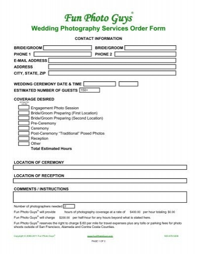 option 2 - £1650 agreement for wedding photography / booking form