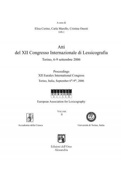 Atti Del Xii Congresso Internazionale Di Lessicografia