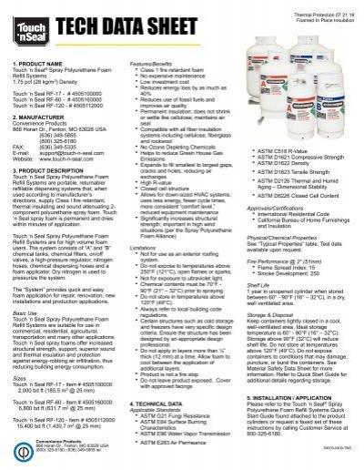 Spray Polyurethane Foam Refill Systems Technical Data