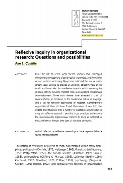 Reflexive inquiry in organizational research: Questions and