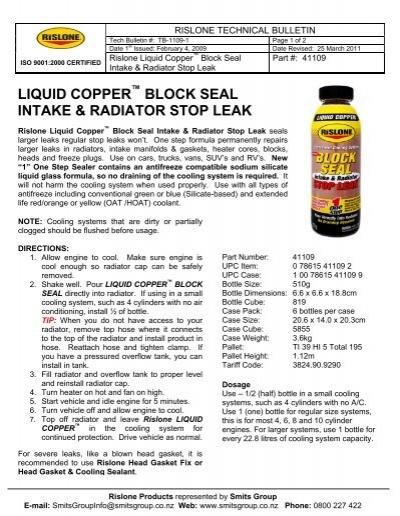 Liquid Copper Block Seal Intake Radiator Stop Leak Smits Group