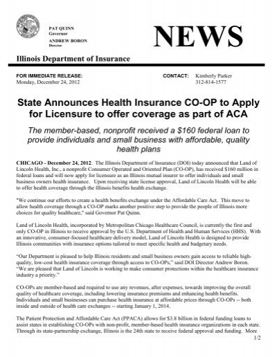 Land of lincoln coop illinois department of insurance