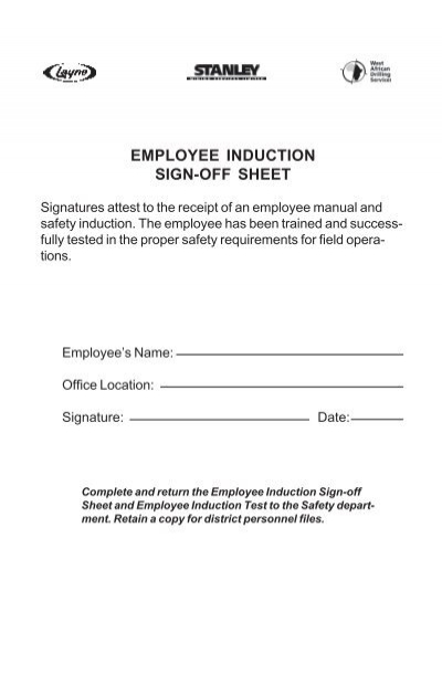 EMPLOYEE INDUCTION SIGN-OFF SHEET - Layne Safety