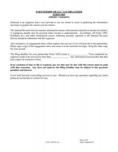 form 1065 filing deadline  Partnership Tax Organizer (12) (Short Version) - WP-RA-usa