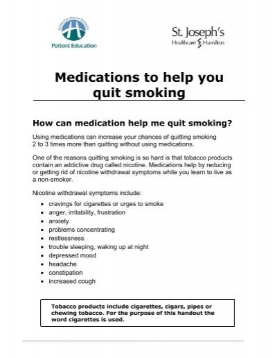 Medications to help you quit smoking - Hamilton Health Sciences
