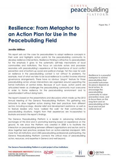 Resilience From Metaphor To An Action Planpdf Gpplatform