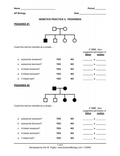 Biology 30 Pedigree Analysis