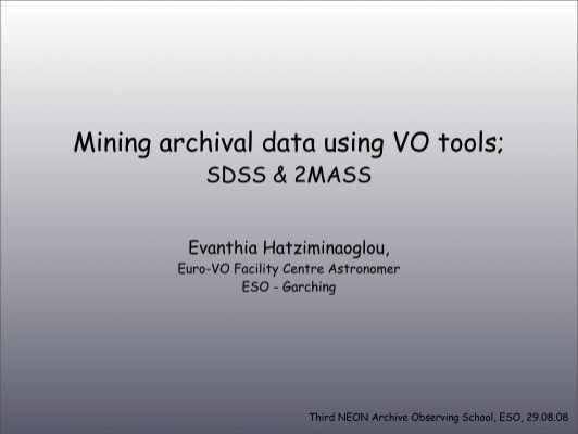 mining archival data using vo tools eso