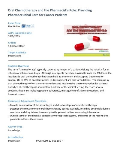 Oral Chemotherapy Handout Free Ce Continuing Education