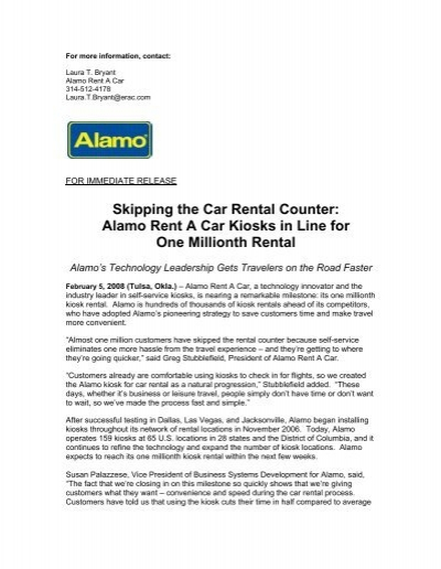 Alamo Rent A Car Kiosks In Line For One Millionth Rental