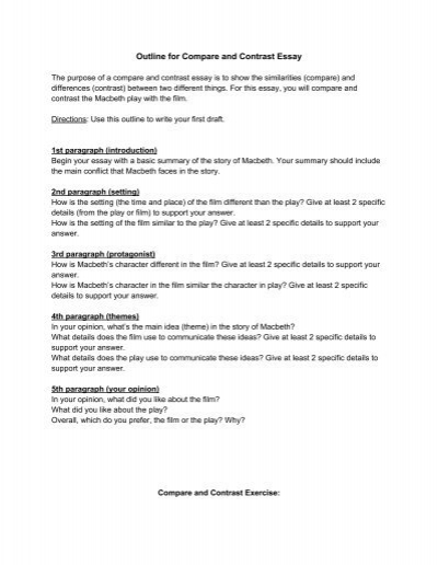 compare and contrast prewriting outline outline for compare and contrast essay odyssey charter school