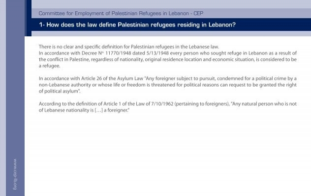 1  How Does The Law Define Palestinian Refugees Residing In Lebanon?