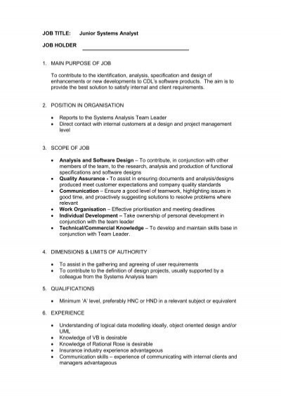 JOB TITLE: Junior Systems Analyst JOB HOLDER 1. MAIN .