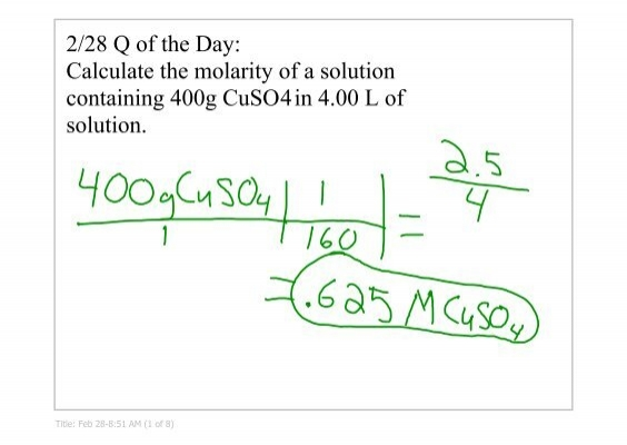 Calculate The Molarity Of A Solution Containing 400g Cuso4 In 400 L