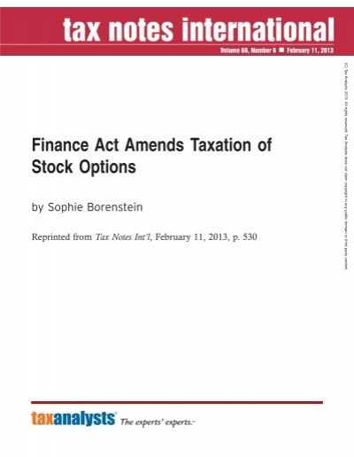 Taxation of stock options in us
