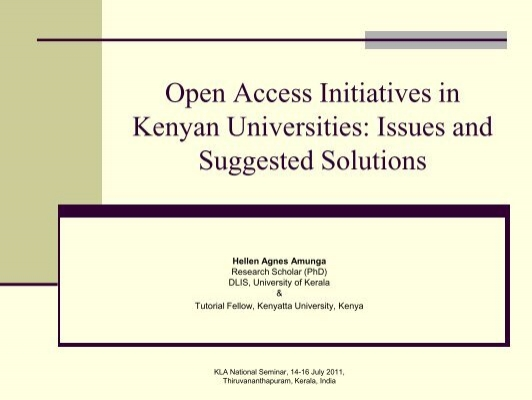 Hellen Agnes Amunga. Open Access Initiatives in Kenyan
