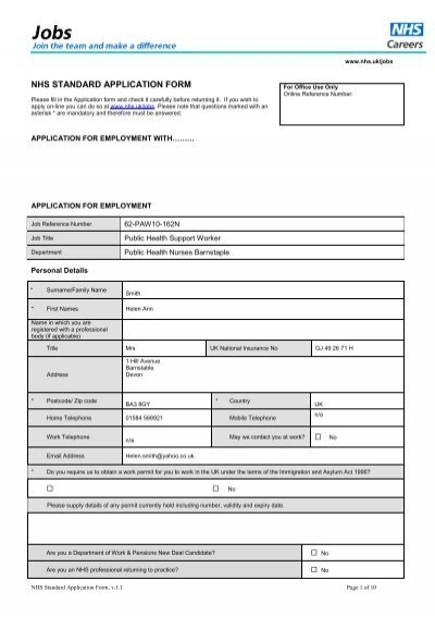 nhs standard application form day in the life