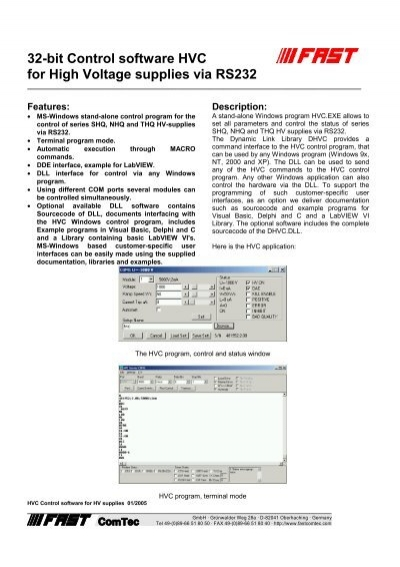 32-bit Control software HVC for High Voltage     - FAST Comtec