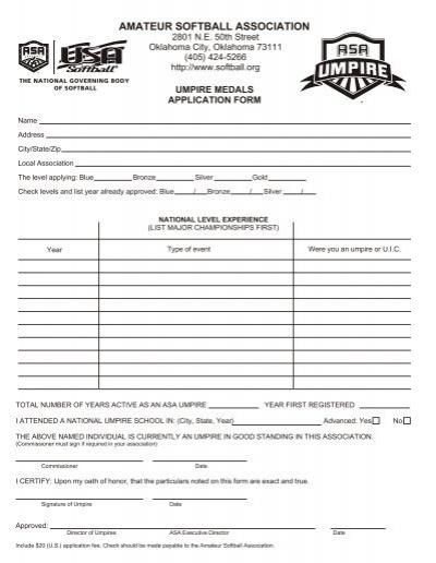 Umpire Medals Application - Alaska ASA Softball