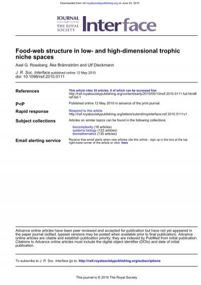 Niche Spaces Food Web Structure In Low And Axel G Rossberg