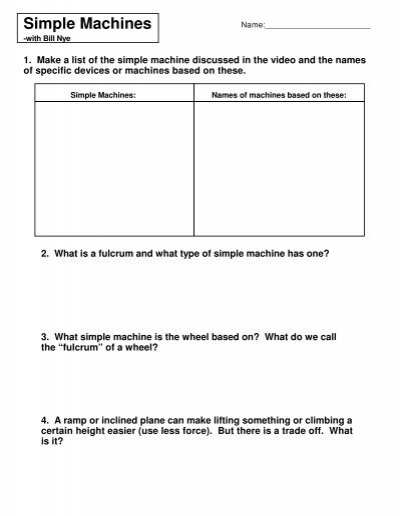 Bill Nye Simple Machines Worksheet - Karibunicollies