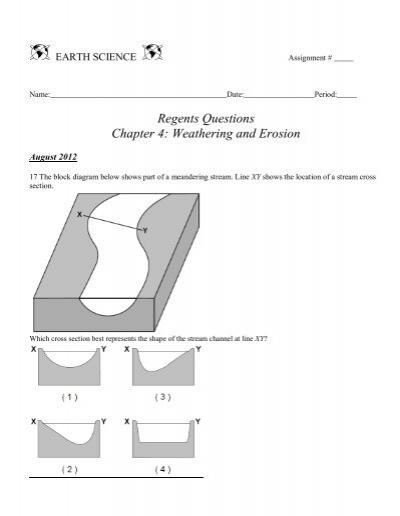 Regents questions chapter 4 weathering and erosion ccuart