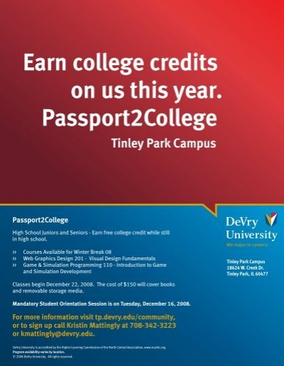 Earn College Credits On Us This Year PassportCollege Devry - Devry university game design