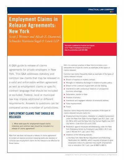 Employment Claims In Release Agreements New York  Schnader