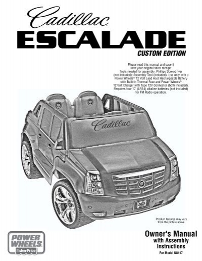 AC//DC Adapter Charger for Power Wheels M9780 Cadillac Escalade Custom Edition
