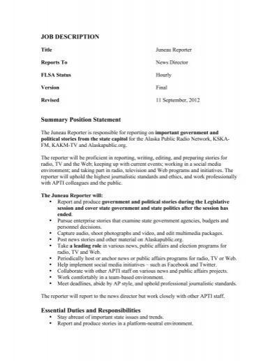 radio announcer job description resume