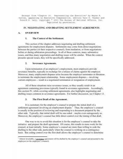 Negotiating And Drafting Settlement Agreements Outten Golden