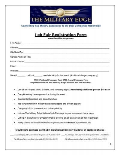 2009 Job Fair Registration Form The Military Edge