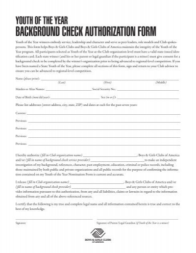 Background Check Authorization Form   Carolinaclubs.org