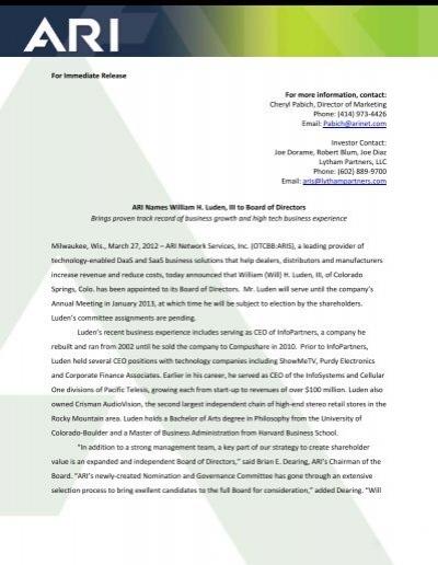 ARI Names William H  Luden, III to Board - ARI Network Services
