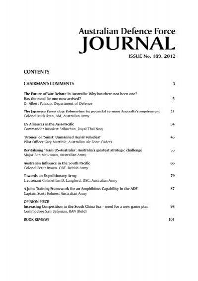 Issue 189 Nov Dec 2012 Australian Defence Force Journal