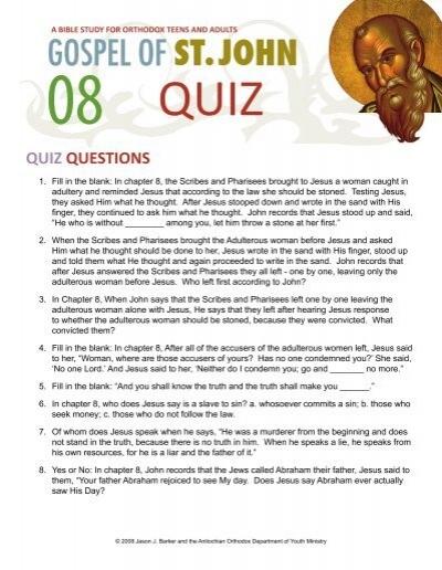 Quiz on John chapter 8 - Orthodox Christian Bible Studies
