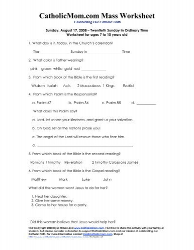 CatholicMom.com Mass Worksheet