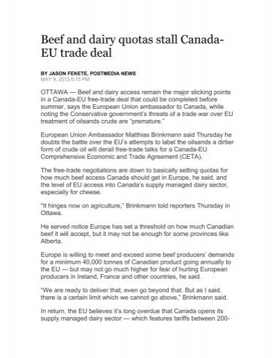 Beef And Dairy Quotas Stall Canada Eu Trade Deal Cert Canada