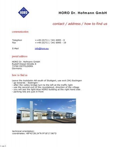HORO Dr  Hofmann GmbH contact / address / how to find us