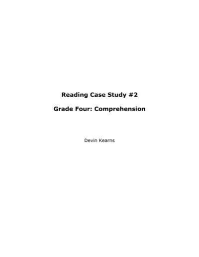 case study about reading comprehension
