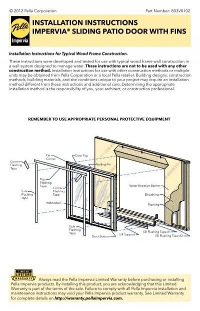 Installation Instructions Impervia 194 174 Sliding Patio Door