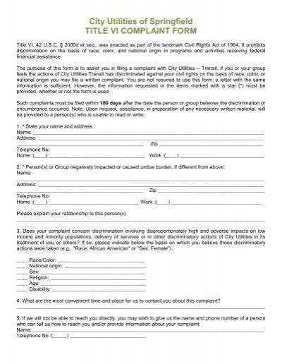 Title VI Civil Rights Complaint Form Section I Name Citilink – Civil Complaint Form