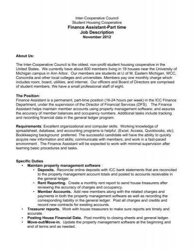 finance assistant part time job description inter cooperative
