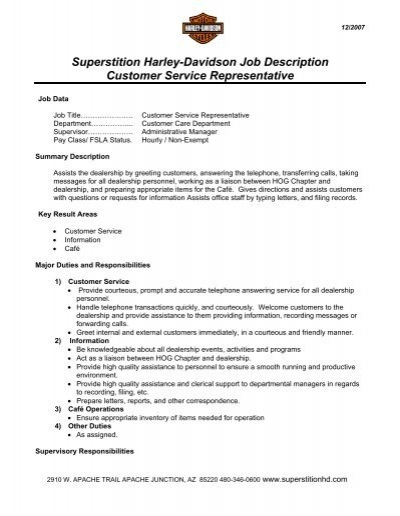 Superstition HarleyDavidson Job Description Customer Service – Service Writer Job Description