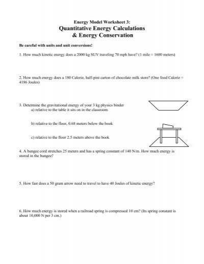 Energy Model Worksheet 3 Modeling Physics