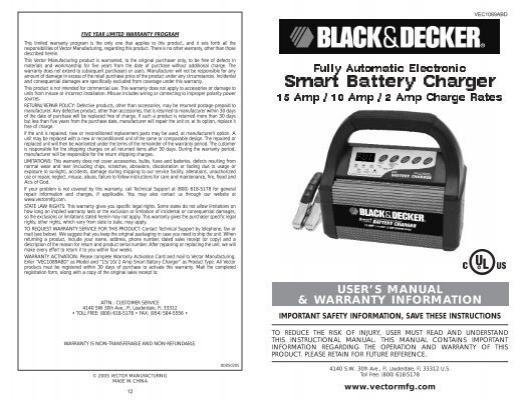 Smart Battery Charger Black Decker Servicenet
